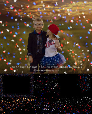 4th of July Patriotic Bokeh Stars Photoshop Overlays