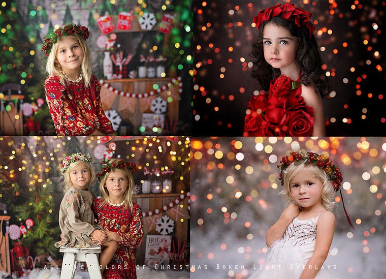 All the Colors of Christmas Bokeh Light Overlays