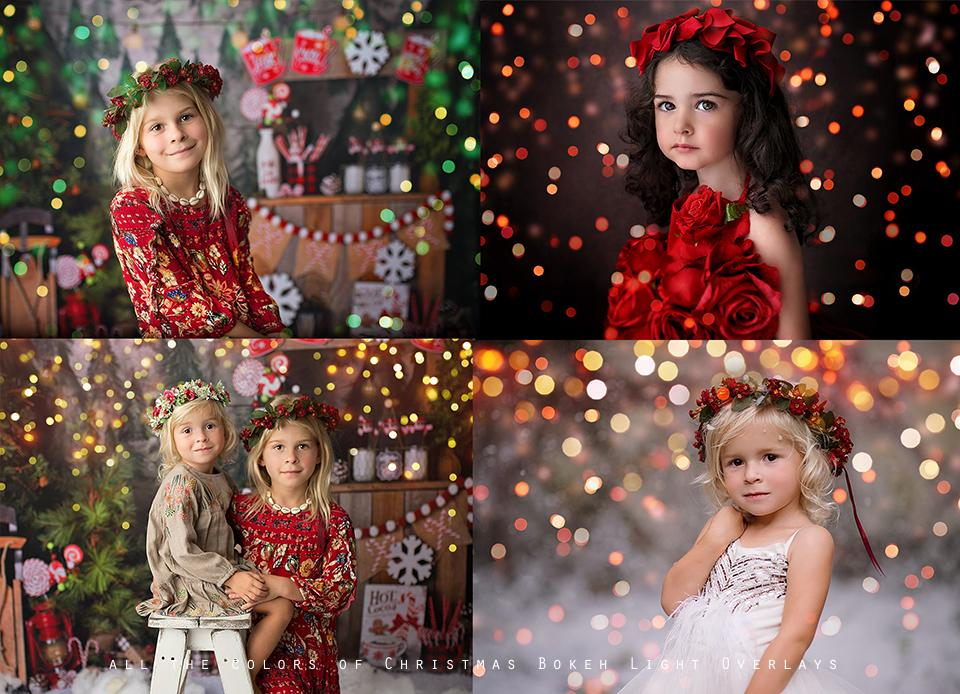 All the Colors of Christmas Bokeh Light Overlays - Kimla Designs  Quality Editing Tools for Creative Photographers, Photoshop Overlays, Textures, Photoshop Actions and Templates.