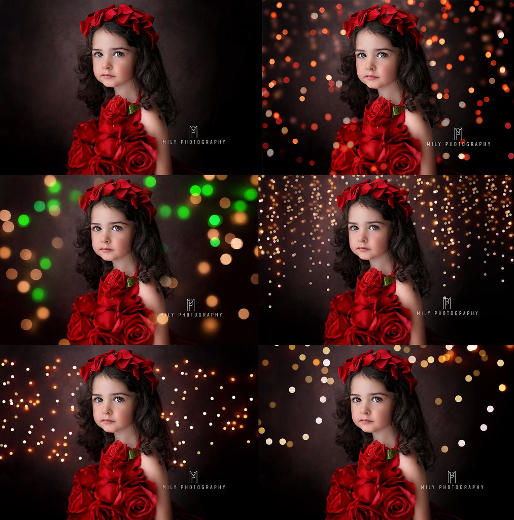 All the Colors of Christmas Bokeh Light Overlays - Photoshop Overlays, Digital Backgrounds and Lightroom Presets