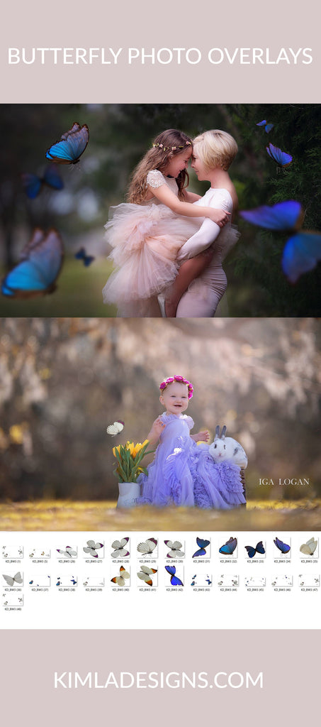 Butterfly Wish Photo Overlays vol.3 - Photoshop Overlays, Digital Backgrounds and Lightroom Presets