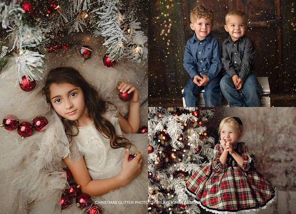 Christmas Glitter Photo Overlays