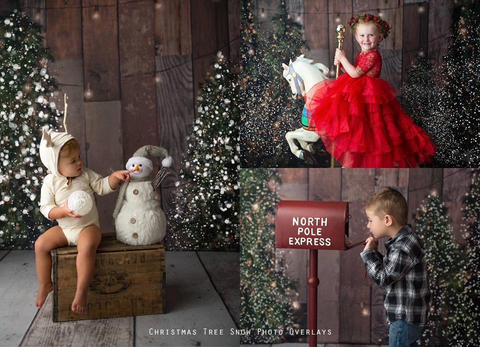 Christmas Tree Snow Overlays - Photoshop Overlays, Digital Backgrounds and Lightroom Presets