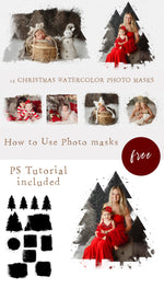 Load image into Gallery viewer, 12 Watercolour Christmas Portrait Photo Masks