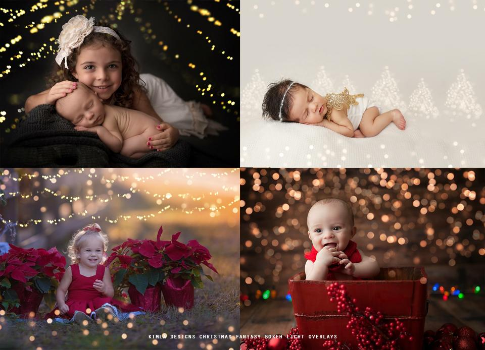Christmas Fantasy Bokeh Light Overlays - Photoshop Overlays, Digital Backgrounds and Lightroom Presets