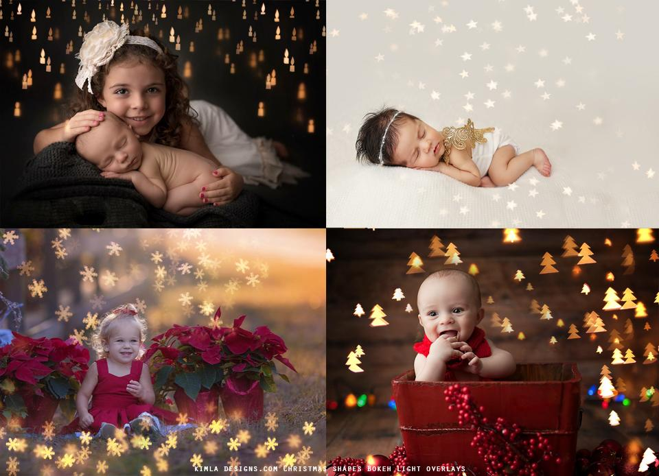 Christmas Shapes Bokeh Light Overlays - Photoshop Overlays, Digital Backgrounds and Lightroom Presets