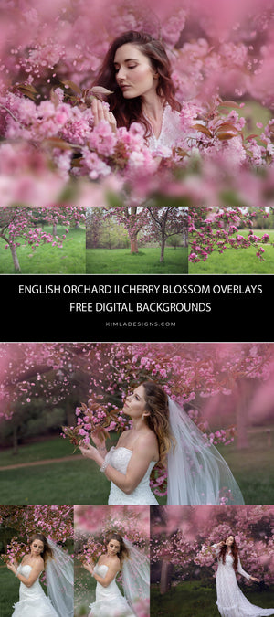 Bundle English Orchard vol.2 Overlays + Free Gifts - Photoshop Overlays, Digital Backgrounds and Lightroom Presets