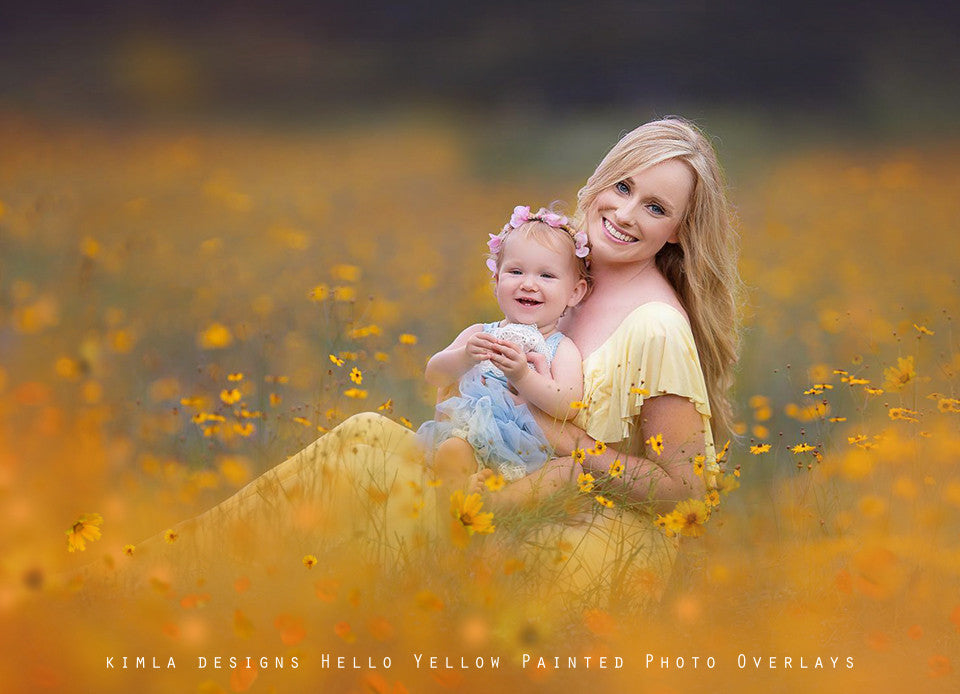 Hello Yellow Painted Photo Overlays - Kimla Designs  Quality Editing Tools for Creative Photographers, Photoshop Overlays, Textures, Photoshop Actions and Templates.