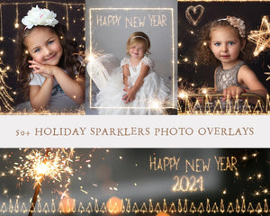 50+ Holiday Sparkler Photo Overlays