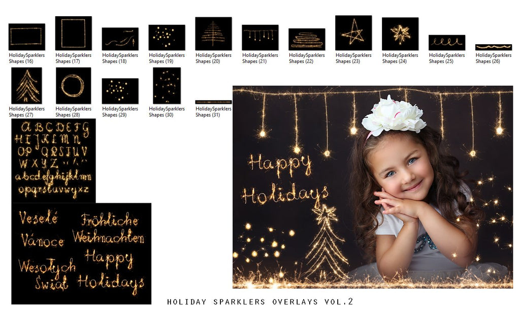 Holiday Sparklers Photo Overlays vol.2 - Photoshop Overlays, Digital Backgrounds and Lightroom Presets