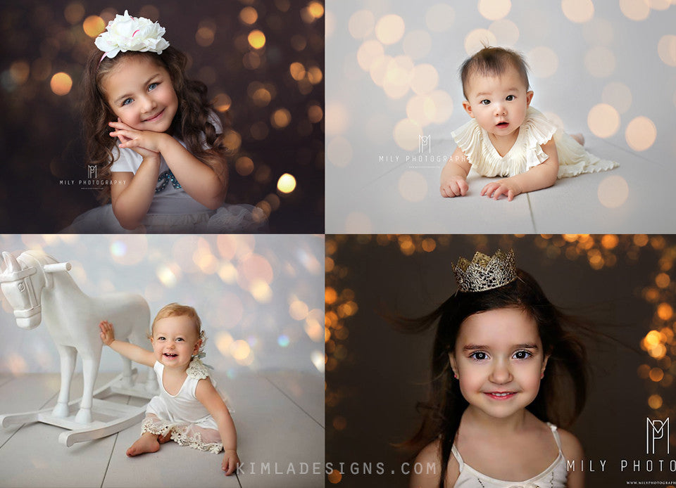 Christmas Gold Bokeh Overlays - Photoshop Overlays, Digital Backgrounds and Lightroom Presets