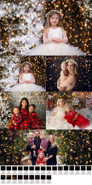 Little Snowflake Christmas Golden Bokeh Photo Overlays - Photoshop Overlays, Digital Backgrounds and Lightroom Presets