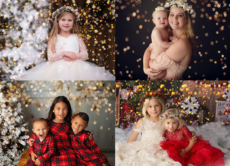Little Snowflake Christmas Golden Bokeh Photo Overlays