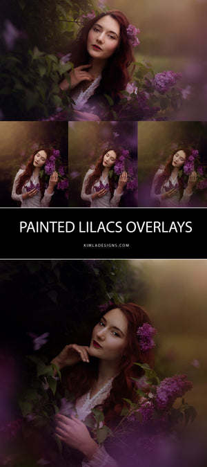 Painted Lilacs Photo Overlays - Photoshop Overlays, Digital Backgrounds and Lightroom Presets