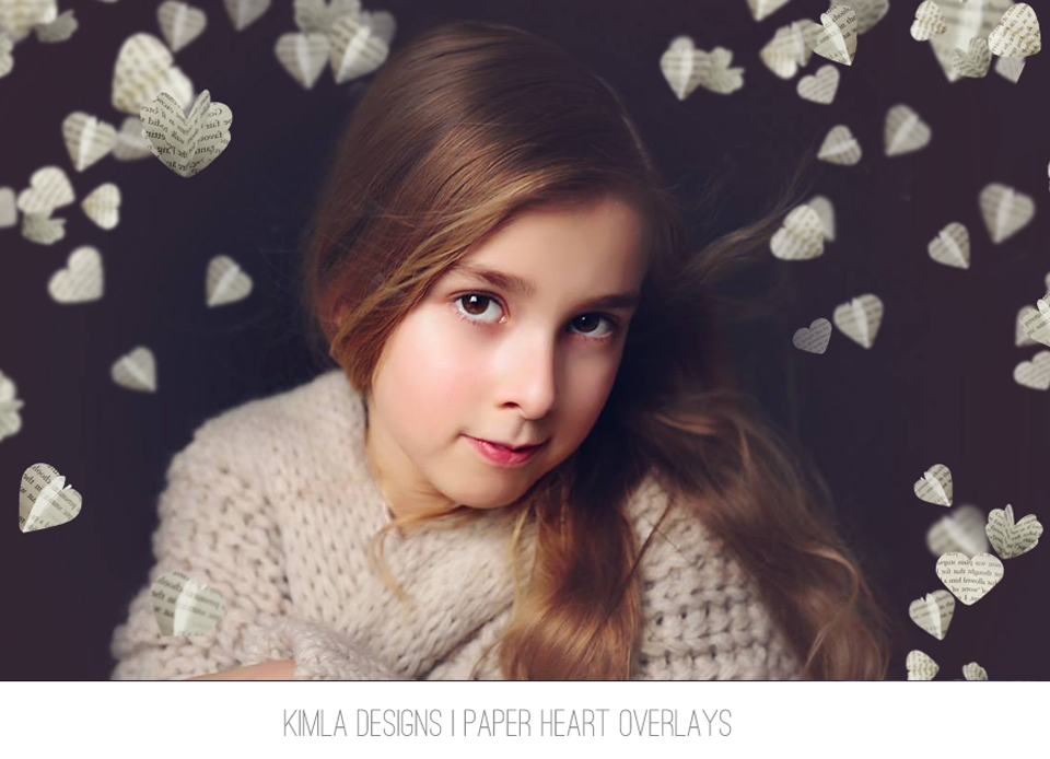Paper Heart Photo Overlays - Photoshop Overlays, Digital Backgrounds and Lightroom Presets