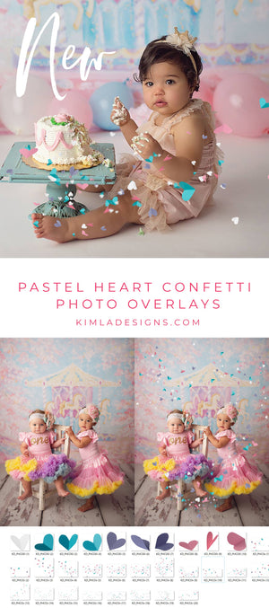 Pastel Heart Confetti Photo Overlays - Kimla Designs  Quality Editing Tools for Creative Photographers, Photoshop Overlays, Textures, Photoshop Actions and Templates.