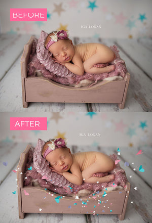 Pastel Heart Confetti Photo Overlays