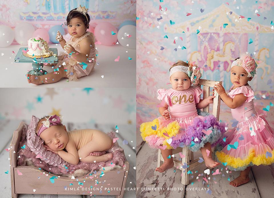 Pastel Heart Confetti Photo Overlays - Photoshop Overlays, Digital Backgrounds and Lightroom Presets