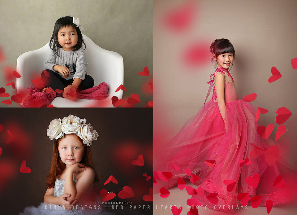 Red Paper Heart Photo Overlays