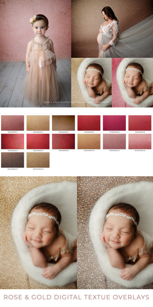 Rose and Gold Valentines Texture Overlays