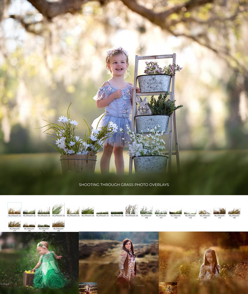 Shooting Through Grass Overlays - Photoshop Overlays, Digital Backgrounds and Lightroom Presets