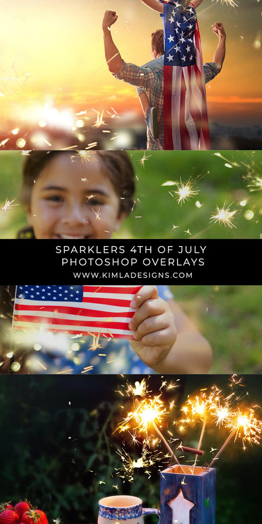 Sparklers 4th of July Photo Overlays - Photoshop Overlays, Digital Backgrounds and Lightroom Presets