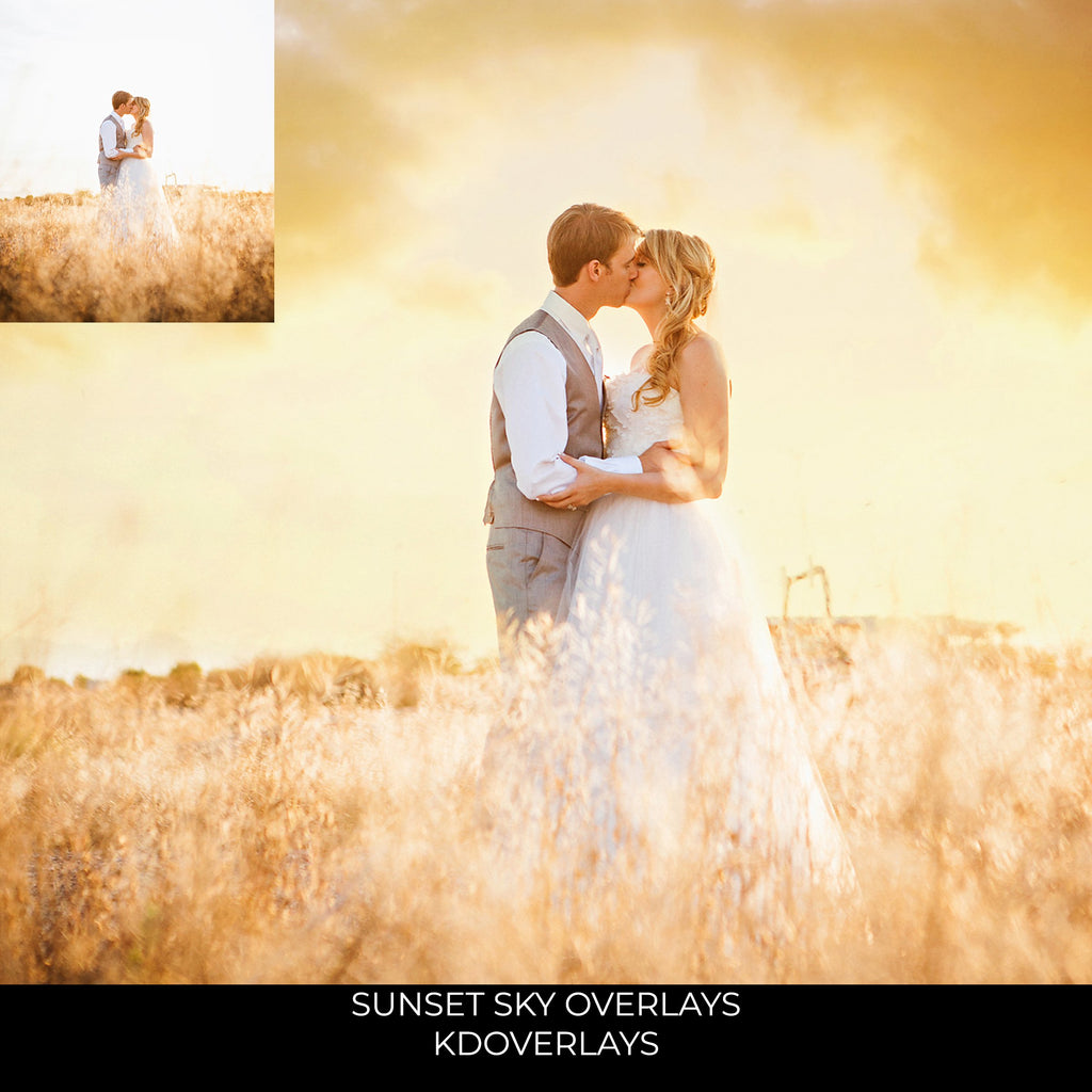 Sunset Sky Photo Overlays - Photoshop Overlays, Digital Backgrounds and Lightroom Presets