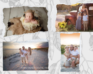Torn Paper Digital Frames - Photoshop Overlays, Digital Backgrounds and Lightroom Presets