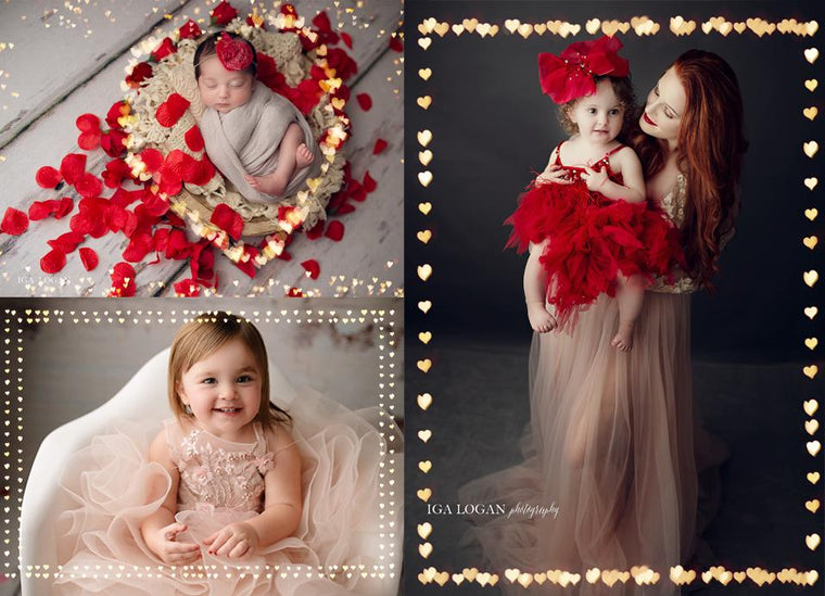 Valentine's Day Bokeh Frame Overlays - Photoshop Overlays, Digital Backgrounds and Lightroom Presets
