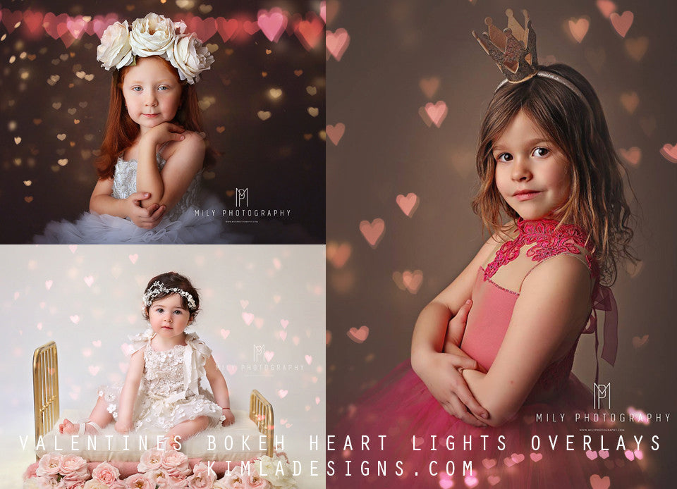 Valentines Heart Bokeh Photo Overlays - Photoshop Overlays, Digital Backgrounds and Lightroom Presets