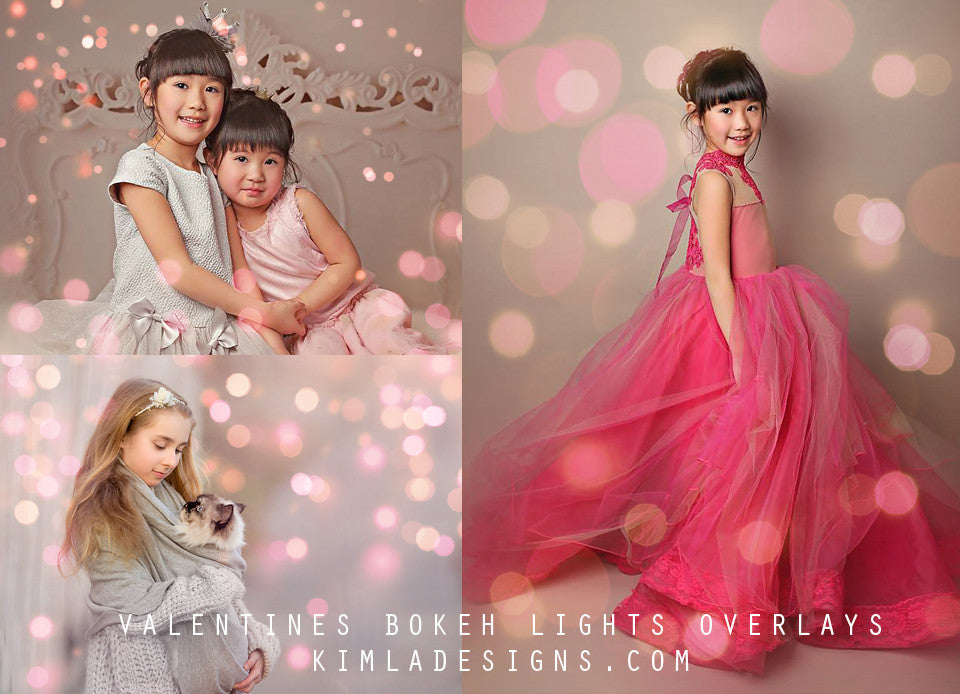 Valentines Bokeh Photo Overlays - Kimla Designs  Quality Editing Tools for Creative Photographers, Photoshop Overlays, Textures, Photoshop Actions and Templates.