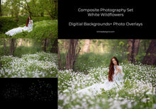 Load image into Gallery viewer, White Wildflowers Composite Photography Set - Photoshop Overlays, Digital Backgrounds and Lightroom Presets