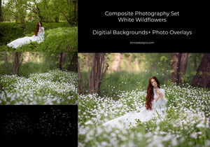 White Wildflowers Composite Photography Set - Kimla Designs  Quality Editing Tools for Creative Photographers, Photoshop Overlays, Textures, Photoshop Actions and Templates.