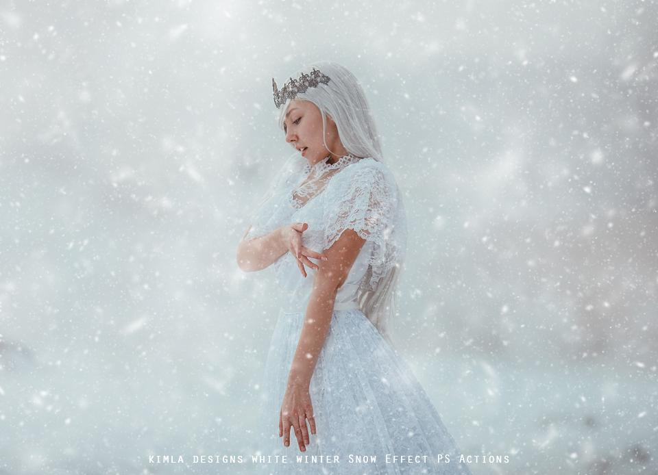 White Winter Snow Effect PS Actions - Photoshop Overlays, Digital Backgrounds and Lightroom Presets