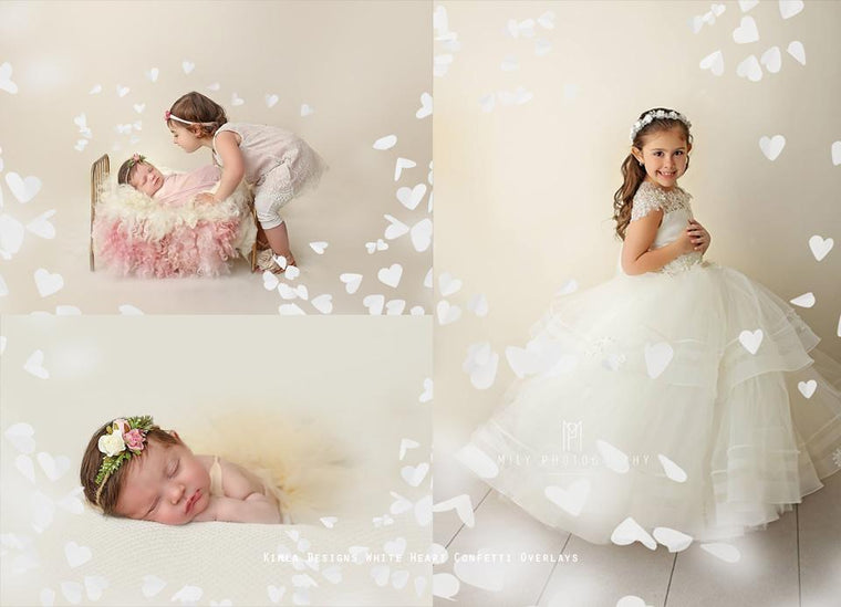 White Heart Confetti Photo Overlays