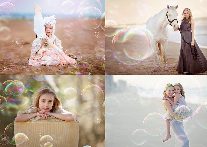 Rainbow Bubbles Photo Overlays - Photoshop Overlays, Digital Backgrounds and Lightroom Presets