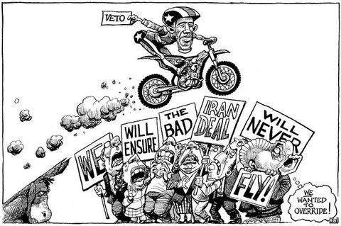 Kal's Cartoon Obama, Iran and the veto