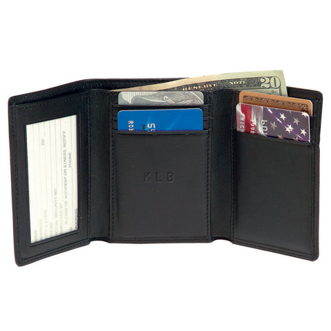 Personalized Leather RFID Trifold Credit Card Wallet
