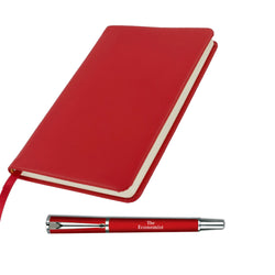 The Economist Rollerball Pen and Red Notebook