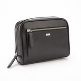 Black Saffiano Leather Toiletry Travel Grooming Wash Bag
