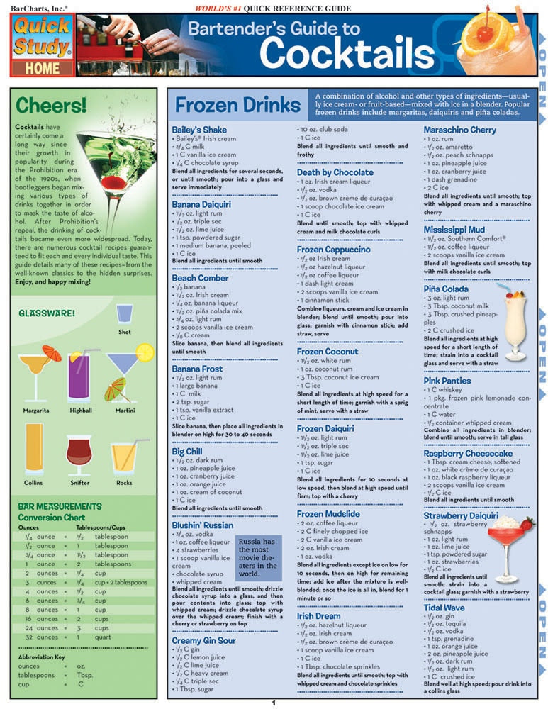 Bartender'S Guide To Cocktails Laminated Reference Guide