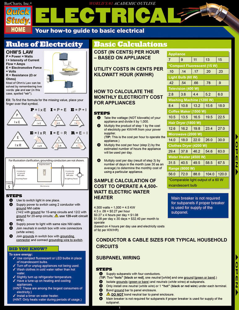 Electrical Laminated Reference Guide