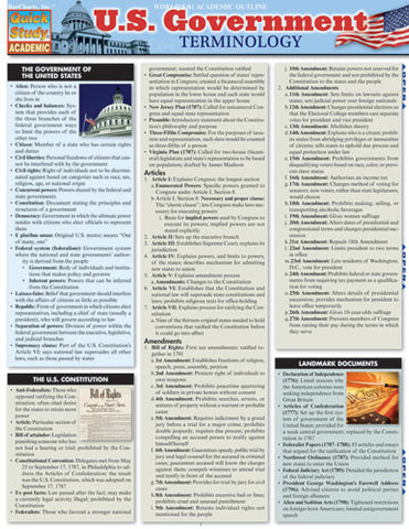 U.S. Government Terminology Laminated Reference Guide
