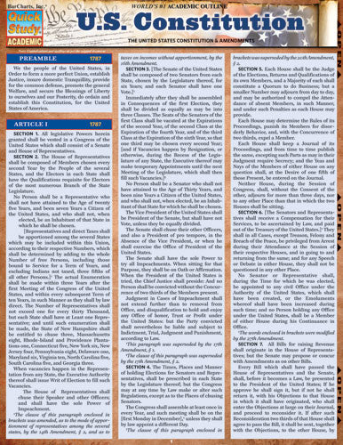 U.S. Constitution Laminated Reference Guide