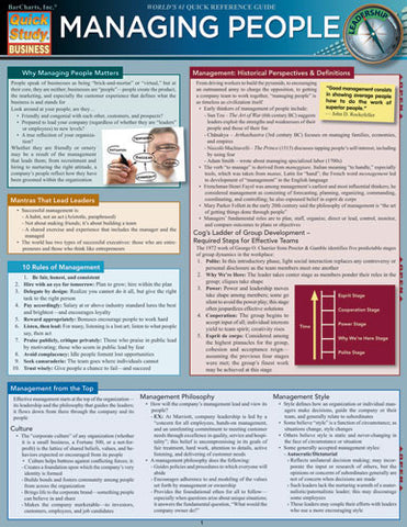 Managing People Laminated Reference Guide