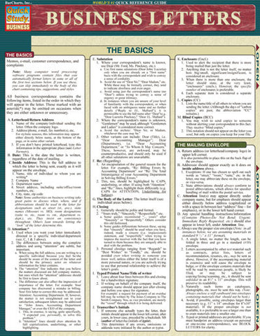 Business Letters Laminated Reference Guide