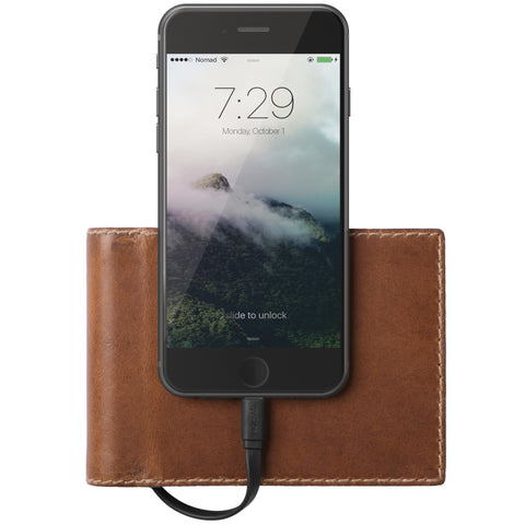 The Bi-Fold Lightning Leather Brown Charging Wallet