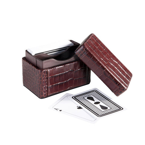 Playing Card Holder - Crocodile Embossed Leather