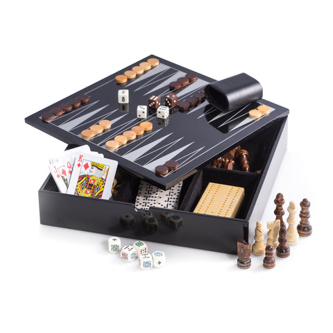 ... Black Lacquered Wood 5 1 Game Set   Includes Chess And Backgammon With  Wooded Game