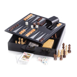 Black Lacquered Wood 5-1 Game Set - Includes  Chess and Backgammon with Wooded Game Pieces and Dice Cup, Dominos, Cribbage, Dice and Playing Cards